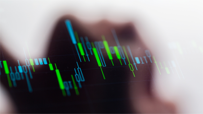 Touching stock market graph on a touch screen device